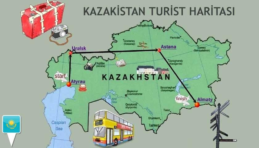 kazakistan turizm haritası